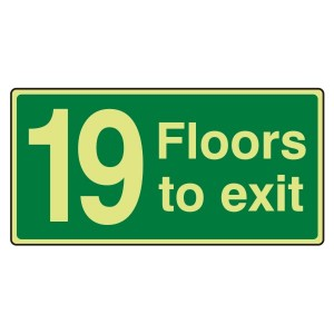 Photoluminescent 19 Floors To Exit Sign