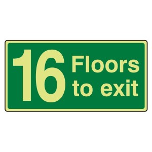 Photoluminescent 16 Floors To Exit Sign