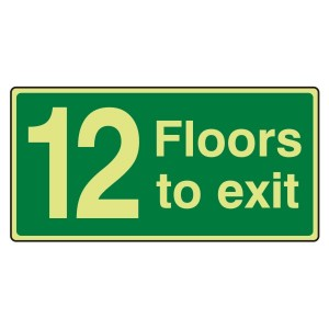 Photoluminescent 12 Floors To Exit Sign