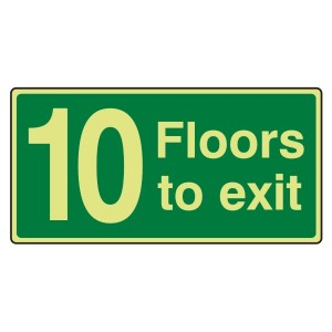Photoluminescent 10 Floors To Exit Sign