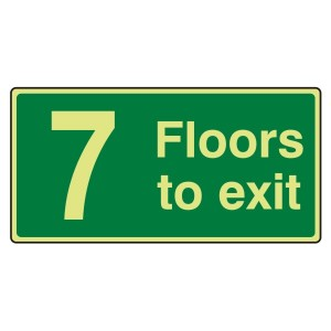 Photoluminescent 7 Floors To Exit Sign