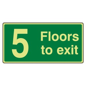 Photoluminescent 5 Floors To Exit Sign