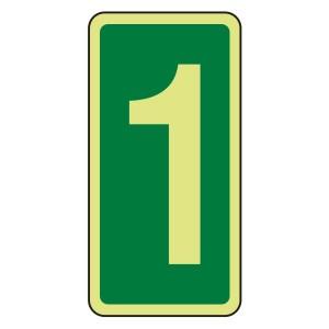Photoluminescent Green Marker Number 1 Sign