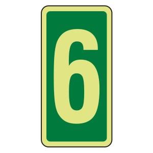 Photoluminescent Green Marker Number 6 Sign