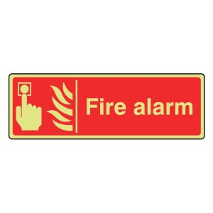 Photoluminescent Fire Alarm Sign (Landscape)