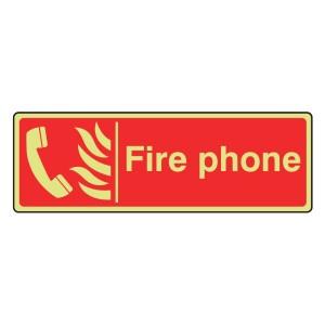 Photoluminescent Fire Phone Sign (Landscape)