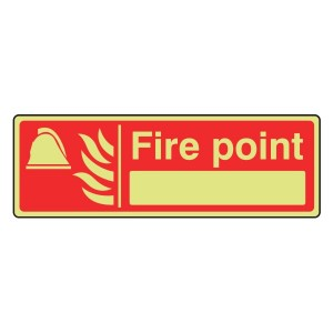 Photoluminescent Fire Point Sign with blank (Landscape)