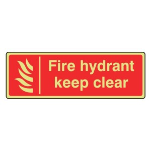 Photoluminescent Fire Hydrant Keep Clear Sign (Landscape)