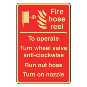 Photoluminescent Fire Hose Reel Instructions Sign (Manual)