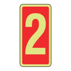 Photoluminescent Marker Number 2 Sign (red)