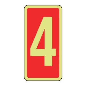 Photoluminescent Marker Number 4 Sign (red)