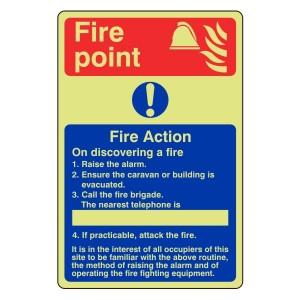 Photoluminescent Caravan Fire Action Sign 1