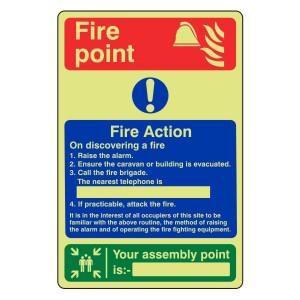 Photoluminescent Caravan Fire Action Sign 2
