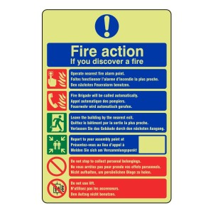 Photoluminescent Multi-Lingual Fire Action Sign 1