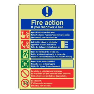 Photoluminescent Multi-Lingual Fire Action Sign 2