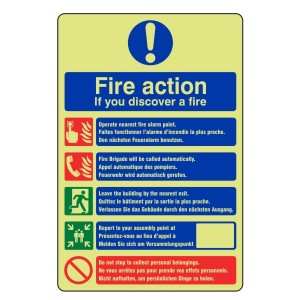 Photoluminescent Multi-Lingual Fire Action Sign 3