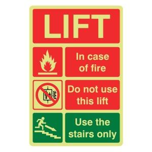 Photoluminescent Lift Safety Action Sign 2