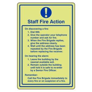 Photoluminescent Staff Fire Action Sign 1
