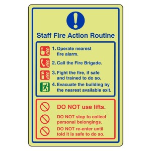 Photoluminescent Staff Fire Action Sign 2