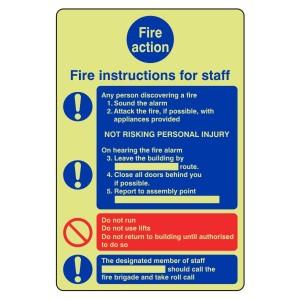 Photoluminescent Staff Fire Action Sign 6