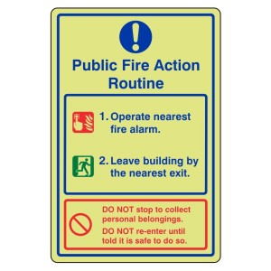 Photoluminescent Public Fire Action Routine Sign 1