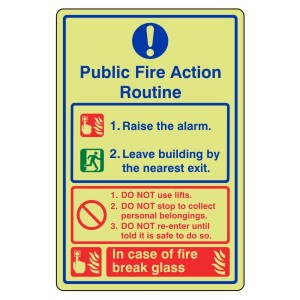 Photoluminescent Public Fire Action Routine Sign 3