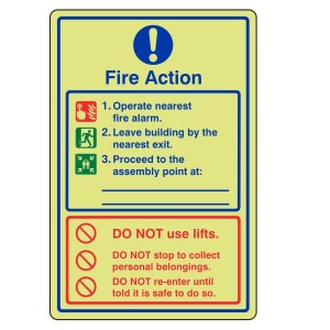 Photoluminescent General Fire Action Sign 10