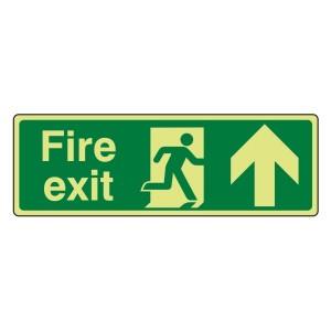 Photoluminescent Fire Exit Arrow Up Sign