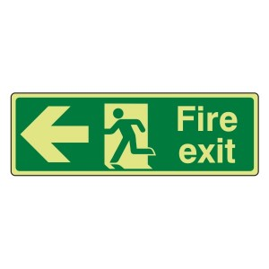 Photoluminescent Fire Exit Arrow Left Sign