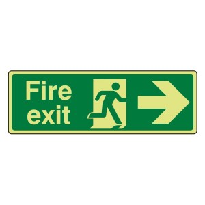 Photoluminescent Fire Exit Arrow Right Sign