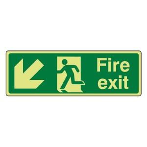 Photoluminescent Fire Exit Arrow Down Left Sign