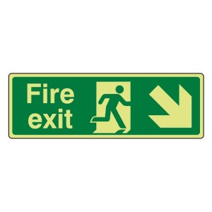Photoluminescent Fire Exit Arrow Down Right Sign
