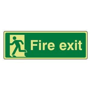 Photoluminescent Final Fire Exit Man Left Sign