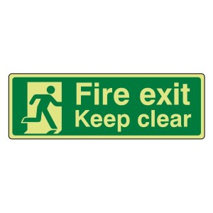 Photoluminescent Fire Exit Keep Clear with Running Man Sign