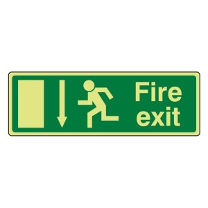 Photoluminescent EC Fire Exit Arrow Down Sign with text