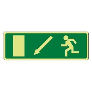 Photoluminescent EC Fire Exit Arrow Down Left Sign