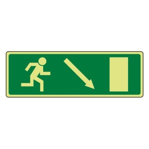 Photoluminescent EC Fire Exit Arrow Down Right Sign