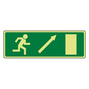 Photoluminescent EC Fire Exit Arrow up Right Sign