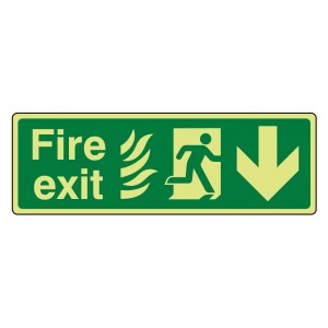 Photoluminescent NHS Fire Exit Arrow Down Sign