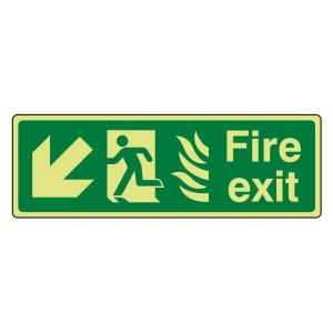Photoluminescent NHS Fire Exit Arrow Down Left Sign