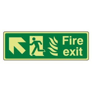 Photoluminescent NHS Fire Exit Arrow Up Left Sign