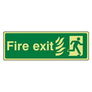 Photoluminescent NHS Final Fire Exit Man Right Sign