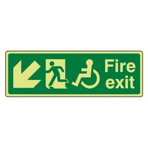 Photoluminescent Wheelchair Fire Exit Arrow Down Left Sign