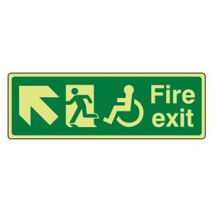 Photoluminescent Wheelchair Fire Exit Arrow Up Left Sign