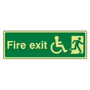 Photoluminescent Wheelchair Final Fire Exit Man Right Sign