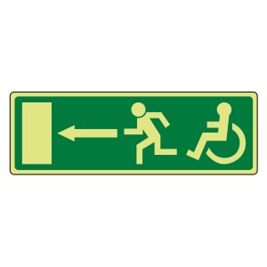 Photoluminescent EC Wheelchair Fire Exit Arrow Left Sign
