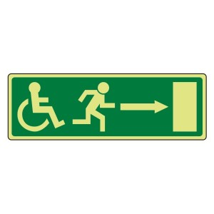 Photoluminescent EC Wheelchair Fire Exit Arrow Right Sign