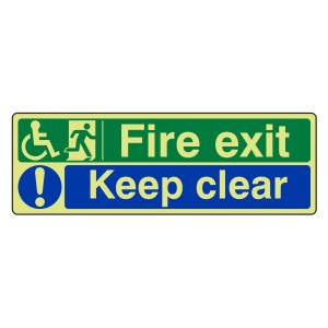 Photoluminescent Wheelchair Fire Exit / Keep Clear Sign