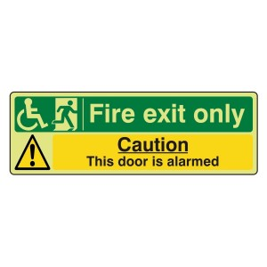 Photoluminescent Wheelchair Fire Exit Only / Door Alarmed Sign