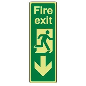 Photoluminescent Portrait Fire Exit Arrow Down Sign